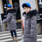 男童羽絨服 2019新款兒童羽絨服男童韓版加厚中長款字母印花中大童裝羽絨外套 快樂母嬰
