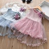 女童禮服 童裝女童夏背心拼接網紗送胸花淑女公主禮服女寶寶 - 雙十二交換禮物