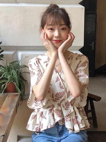 夏季韓版不規則寬鬆顯瘦雪紡襯衫女裝新款設計感小眾短袖上衣