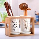 日式雙筒三筒陶瓷筷子筒防霉透氣瀝水筷籠鏤空筷子盒 范思蓮恩