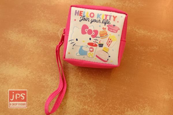 Hello Kitty 凱蒂貓 45週年 隨身方型零錢包 收納包 桃白 KRT-265383