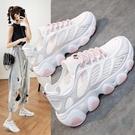 運動鞋 白色老爹鞋網紅超火運動鞋顯腳小ins潮女夏季薄款透氣網鞋休閒鞋