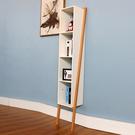 書架置物架落地簡易靠牆書架創意簡約轉角架四層書架白色榉木書架