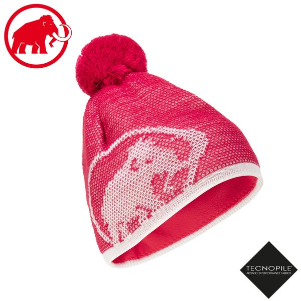 【MAMMUT 長毛象 Snow Beanie 雙層針織保暖羊毛帽《火龍果/純白》】1191-00101/毛線帽/禦寒帽/登山