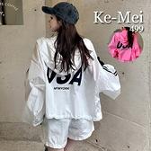 克妹Ke-Mei【AT67229】NEWYORK背後字母圖印夏季防曬連帽外套