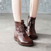 真皮馬丁靴 側拉鍊短靴 繫帶圓頭手工靴/2色-標準碼-夢想家-0916