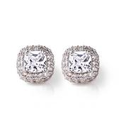 耳環 純銀鍍白金 鑲鑽-簡約方形生日情人節禮物女飾品73cr129【時尚巴黎】