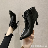 尖頭軟皮細跟時尚短靴女潮2020新款秋冬季加絨鞋子百搭高跟馬丁靴 美眉新品