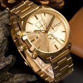 DIESEL 奢華金色三眼計時腕錶 DZ4475 熱賣中!
