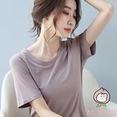 莫代爾短袖t恤女寬松夏季潮時尚韓版純色體恤【桃可可服飾】
