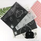 A4文件袋透明韓版小清新按扣學生用資料袋文具卡通試卷收納袋12個  提拉米蘇