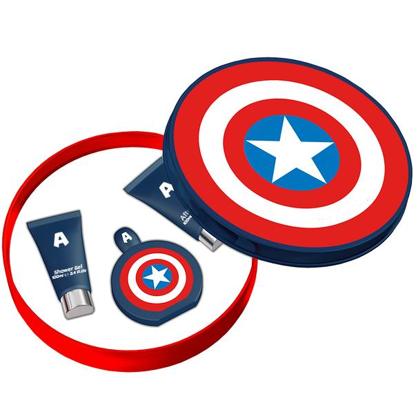 MARVEL CAPTAIN AMERICA 美國隊長 男性淡香水 禮盒(淡香水100ml+沐浴膠100ml+鬍後乳100ml)
