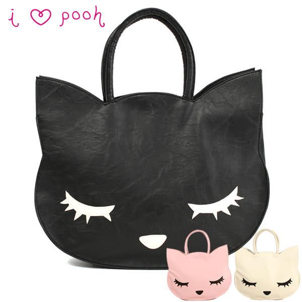 日本進口 Pooh Chan 噗將閉眼貓 大托特雜誌包 貓臉造型 手提包 包包 (2色)