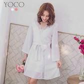 東京著衣【YOCO】輕熟氣質交叉V領綁帶寬袖洋裝-S.M.L(180189)