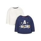 mothercare 秋冬女嬰2入長袖上衣-精選系列-藍色、白色(M0JG832)09M~4A