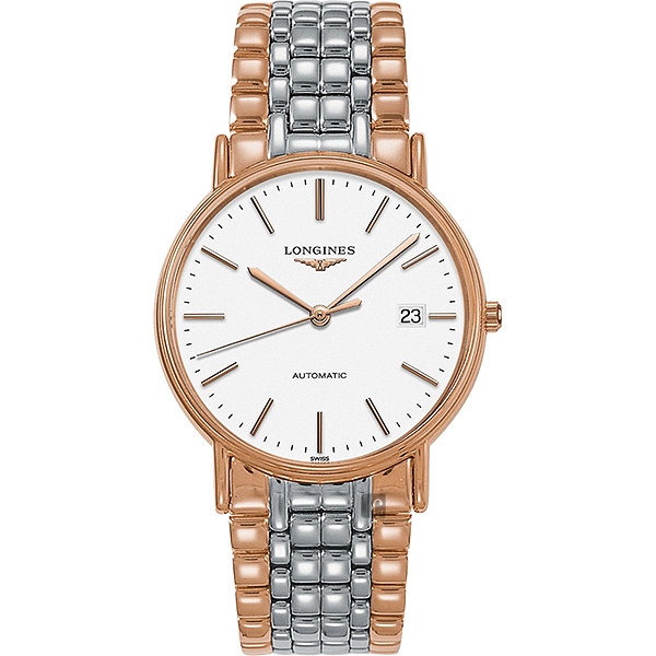 LONGINES浪琴 Presence 經典永恆機械錶-白x雙色/38mm L49211127