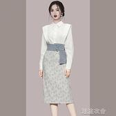 設計感時尚套裝女秋2021新款氣質女神范白色襯衫印花包臀裙兩件套