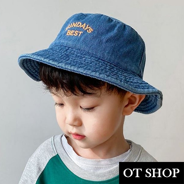 OT SHOP [現貨]男女童帽子 平頂漁夫帽 水桶帽 盆帽 遮陽帽 牛仔布 素色 英文字母刺繡 牛仔藍 C5058