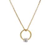 apm MONACO法國精品珠寶 閃耀金色環環相扣鑲鋯可調式項鍊 AC4682XRH