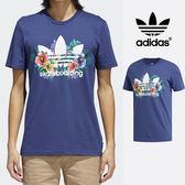 【GT】Adidas Originals 藍 短袖T恤 運動 休閒 純棉 素色 花卉 上衣 短T 愛迪達 基本款 Logo CF3112