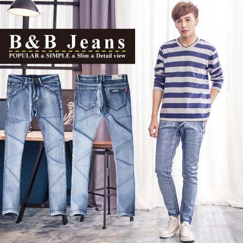 質感湛藍口袋徽章造型牛仔褲