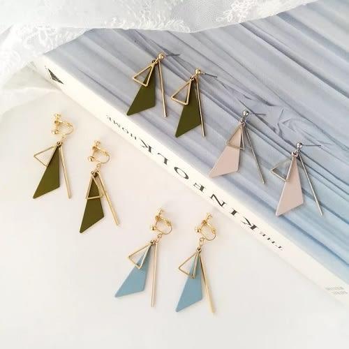【NiNi Me】韓系耳環 時尚百搭幾何長條三角形糖果色耳環 夾式耳環 E0205