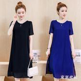 大尺碼短袖洋裝 胖MM女裝新款寬鬆中長裙顯瘦雪紡連身裙 EY4502 『東京衣社』