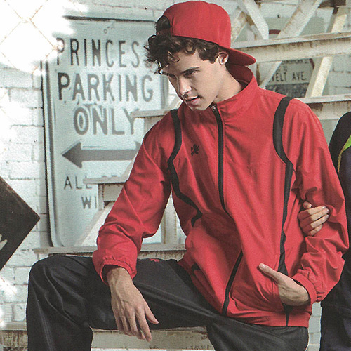 MILD STAR  男女平織網裡運動服套裝[全套]-紅黑-JW705601+PW705501