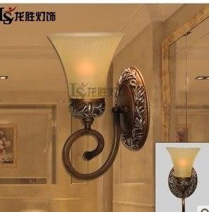 設計師美術精品館688-1W歐式田園壁燈臥室床頭燈 洗手間鏡前燈 花草壁燈 樹脂壁燈