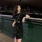 【GZ5B4】夏季網紅港風bling亮片針織連身裙洋裝腰帶設計下擺開叉寬鬆裙