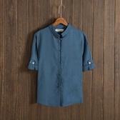 唐裝 唐裝中式亞麻短袖襯衫中老年男士夏裝寬鬆薄棉麻半袖休閒立領上衣 降價兩天