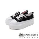 WALKING ZONE(女)小鑽飾車白線增高厚底休閒 女鞋-黑(另有白)