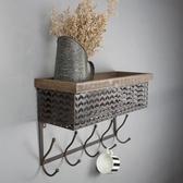 美式復古鐵藝網格墻面裝飾置物架掛鉤咖啡廳辦公室家居墻壁擱物架 港仔會社