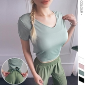 2019新款歐美ins爆款速乾瑜伽運動T恤 燕尾綁結輕薄透氣健身T恤女 TX1187