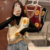 韓版V領無袖針織馬甲潮流外穿秋季外搭疊穿女馬夾背心【毒家貨源】
