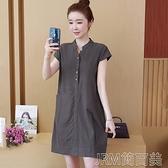 洋裝200斤中長款棉麻連身裙女夏短袖韓版寬鬆顯瘦大碼純色襯衫A字裙 快速出貨