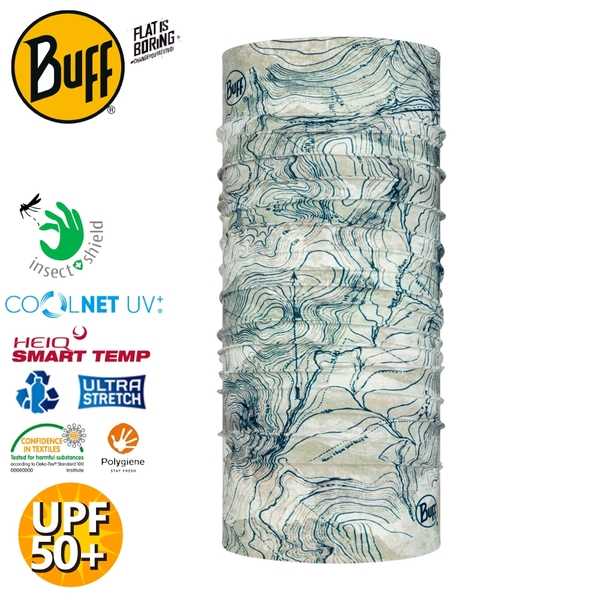 【BUFF 西班牙 Coolnet抗UV驅蟲頭巾《水色墨漬》】122781/涼感/防蟲/圍脖/帽子/口罩/圍巾