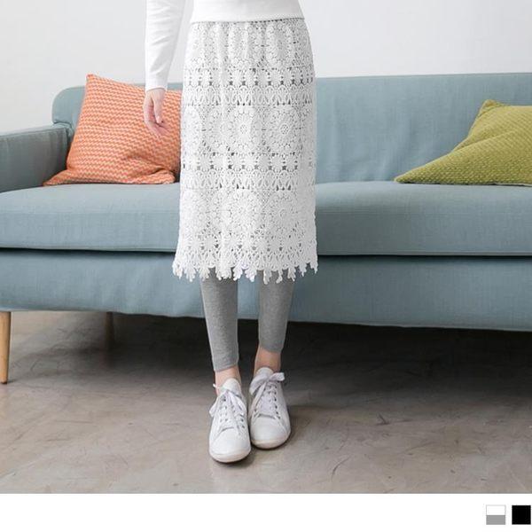《BA2708-》蕾絲長裙拼接假兩件內搭褲.2色 OB嚴選