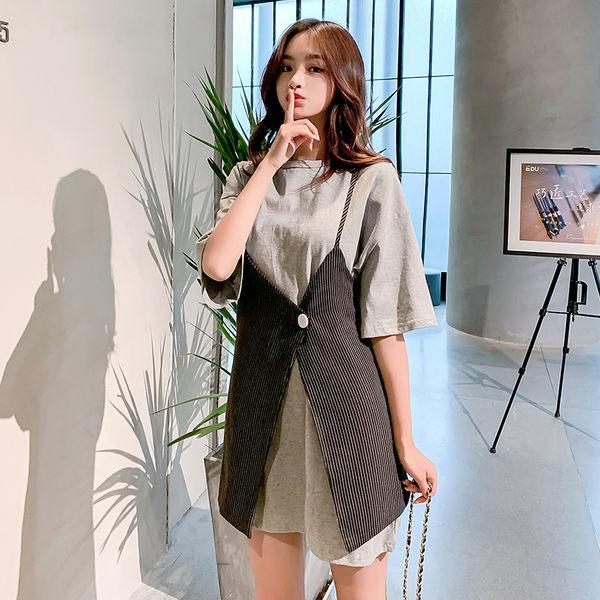 VK旗艦店 韓國風復古休閒紐扣條紋寬鬆套裝短袖裙裝