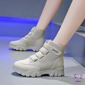 短靴 帆布馬丁靴女正韓高幫鞋女秋季新款鬆糕底增高百搭學生短筒靴