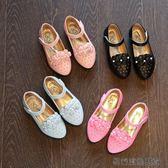 女童小皮鞋花朵公主鞋女