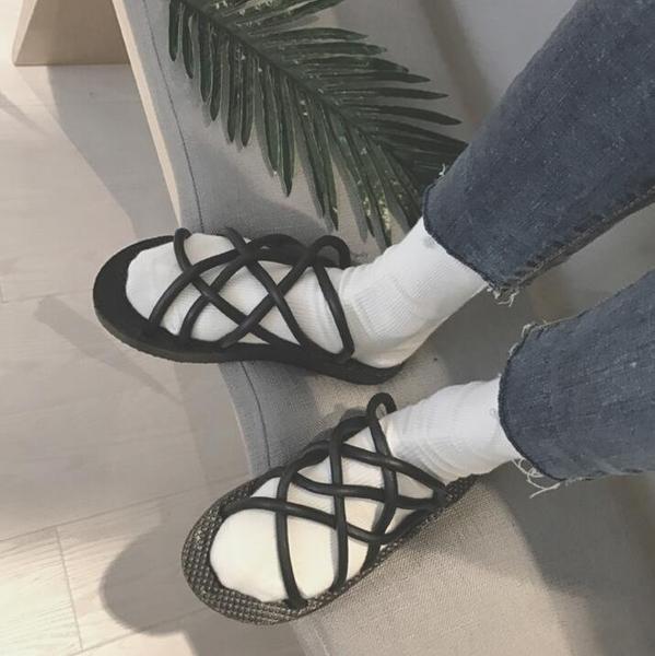 FINDSENSE品牌 男 時尚 潮 休閒 橡膠 麻繩 套腳 拖鞋 一字拖 沙滩