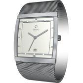 OBAKU 方型視覺米蘭時尚腕錶(銀)
