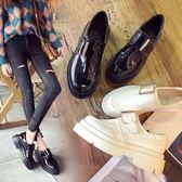 英倫風厚底小皮鞋女春季正韓百搭學生休閒魔術貼鬆糕單鞋 巴黎時尚