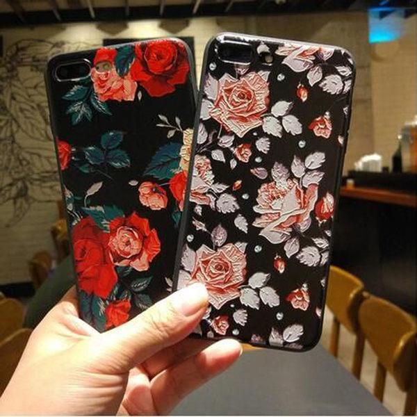 【SZ13】黑白玫瑰花浮雕 iphone xs max 手機殼 iphone 6s 7 8 plus手機殼 XR手機殼