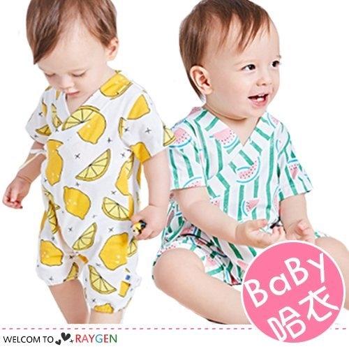 夏季寶寶水果滿印短袖透氣薄款連身哈衣 和服