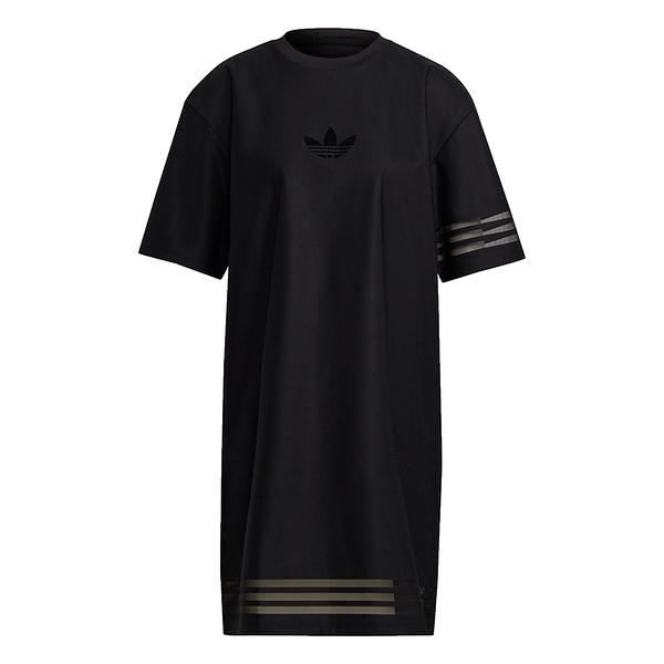 【現貨】Adidas BELLISTA 女裝 短袖 洋裝 休閒 連身裙 透視感 黑【運動世界】GN3249