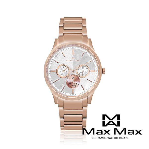 Max Max 幾何美學時尚三眼錶-玫瑰金/38mm(MAS70103J-2)【5295我愛購物】