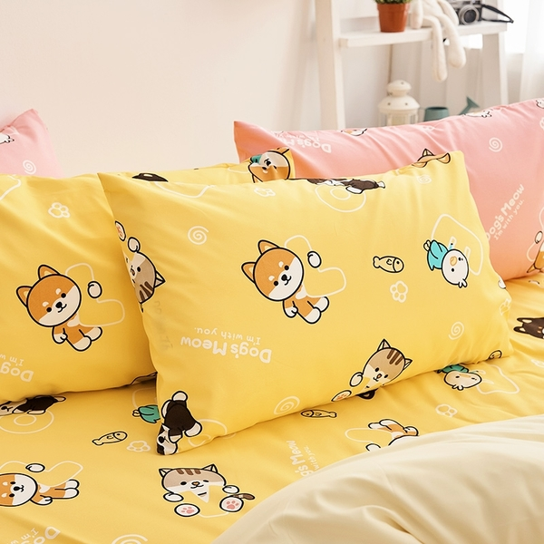 床包 / 單人【逗柴貓黃】含一件枕套,磨毛多工法處理,戀家小舖台灣製 柴犬 貓