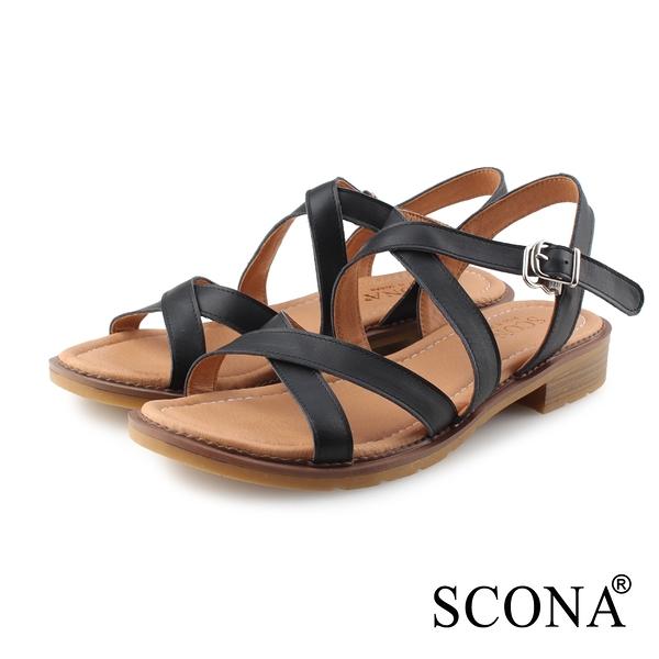 SCONA 蘇格南 全真皮 簡約舒適交叉涼鞋 黑色 31122-1